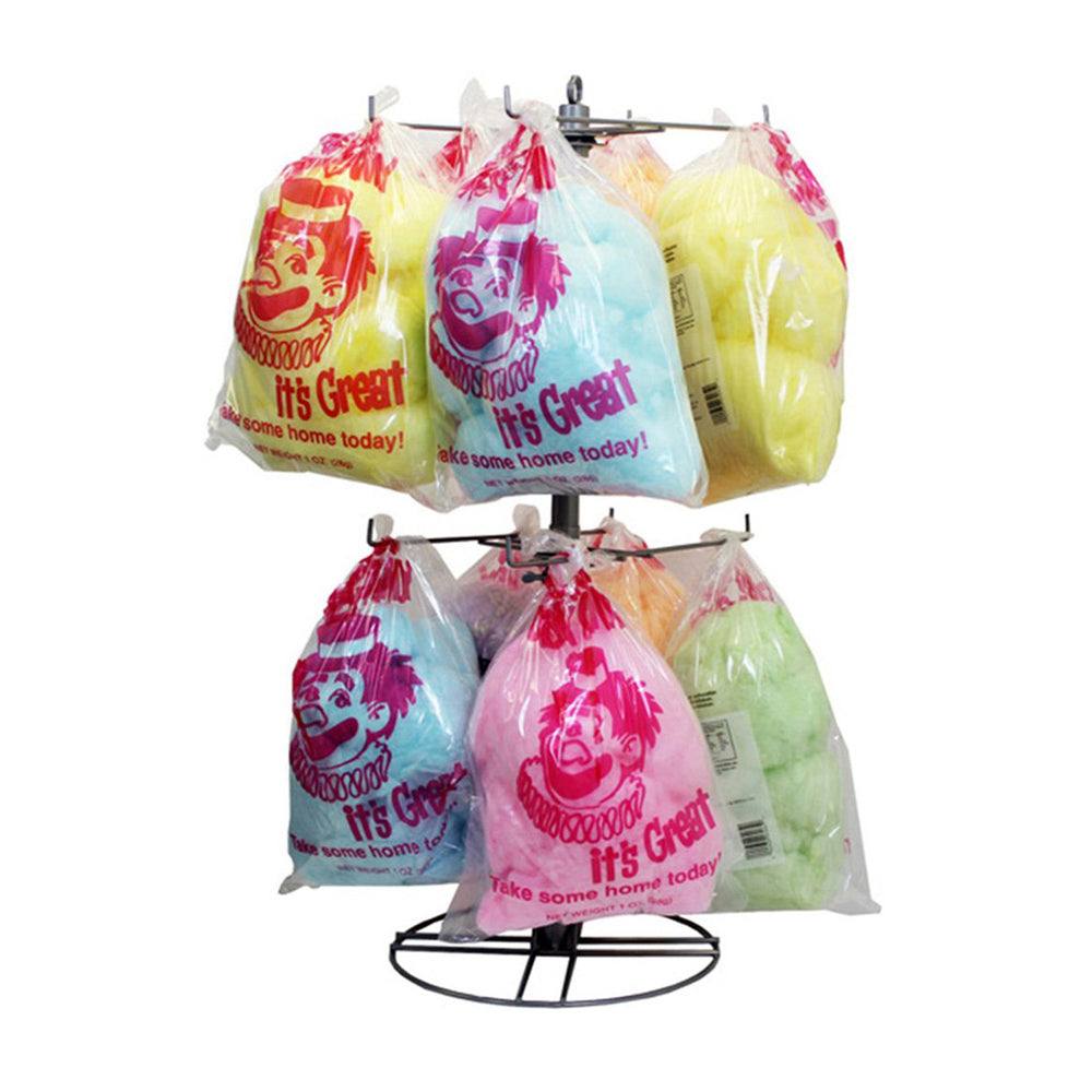 display tree of candy floss bags with red clown print
