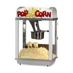 "popcorn machine with white dome featuring ""popcorn"" lettering"