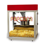 "large popcorn machine with red dome and ""popcorn"" lettering engraved on front glass"