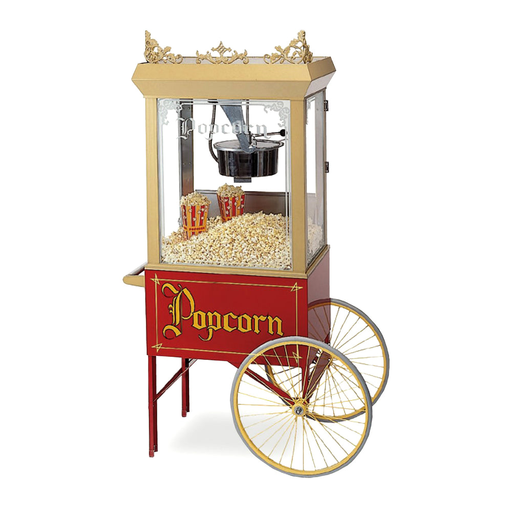 gold vintage popcorn machine with gold filigree ornaments