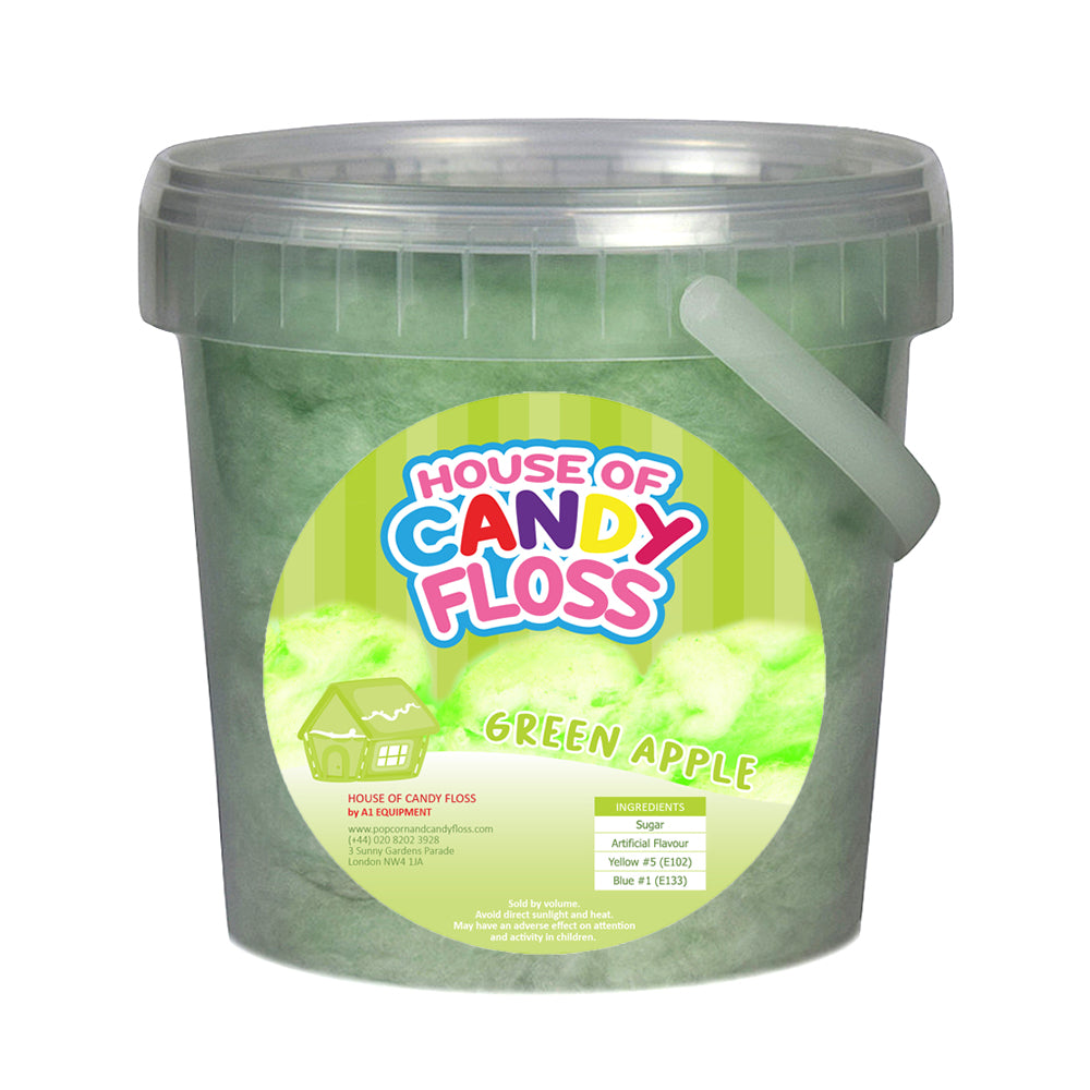 Small Green Apple Candy Floss Tubs 1L