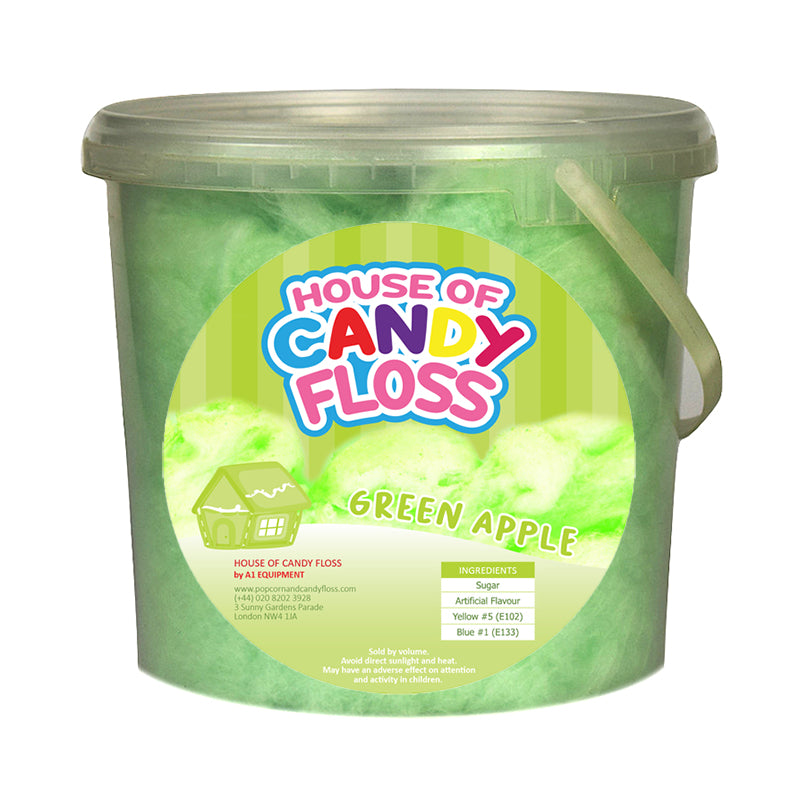 Large Green Apple Candy Floss Tubs 2.5L