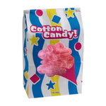 "blue and yellow striped candy floss bag with ""cotton candy!"" lettering and die cut window"