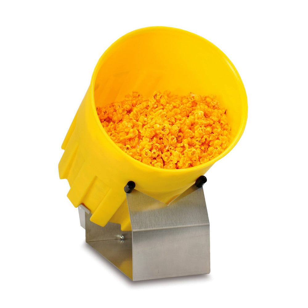 small yellow plastic popcorn tumbler with stainless steel base