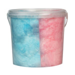 large tub filled with blue and pink candy floss separated vertically