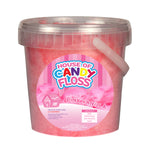 small tub filled with pink candy floss