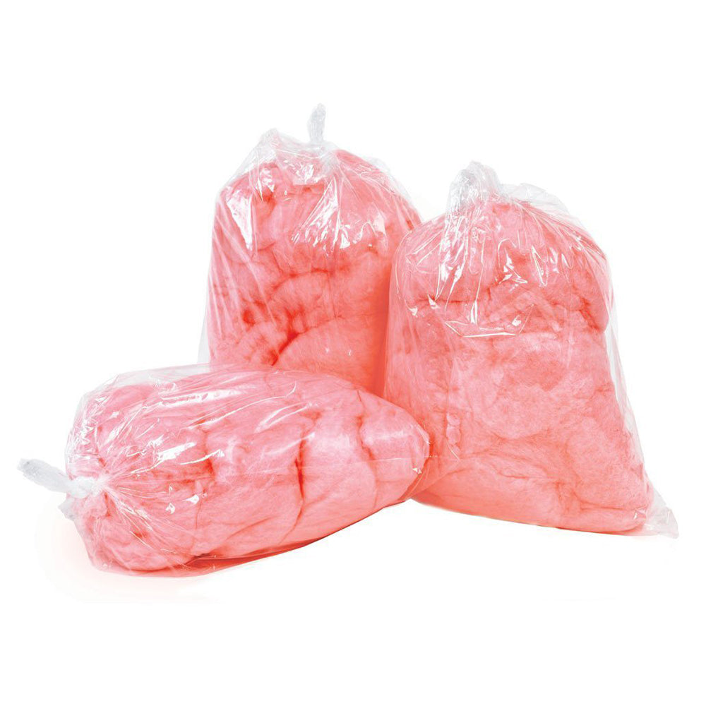 clear candy floss bags filled with pink candy floss