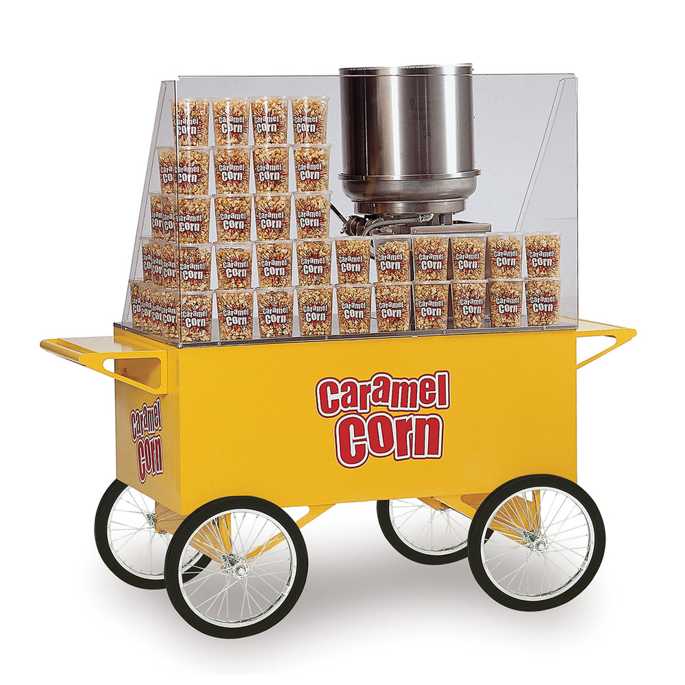 large yellow popcorn cart with ample selling room, two shelves on each end and four wheels