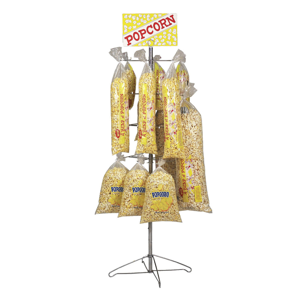 merchandising tree with racks holding popcorn bags and a yellow popcorn poster on top