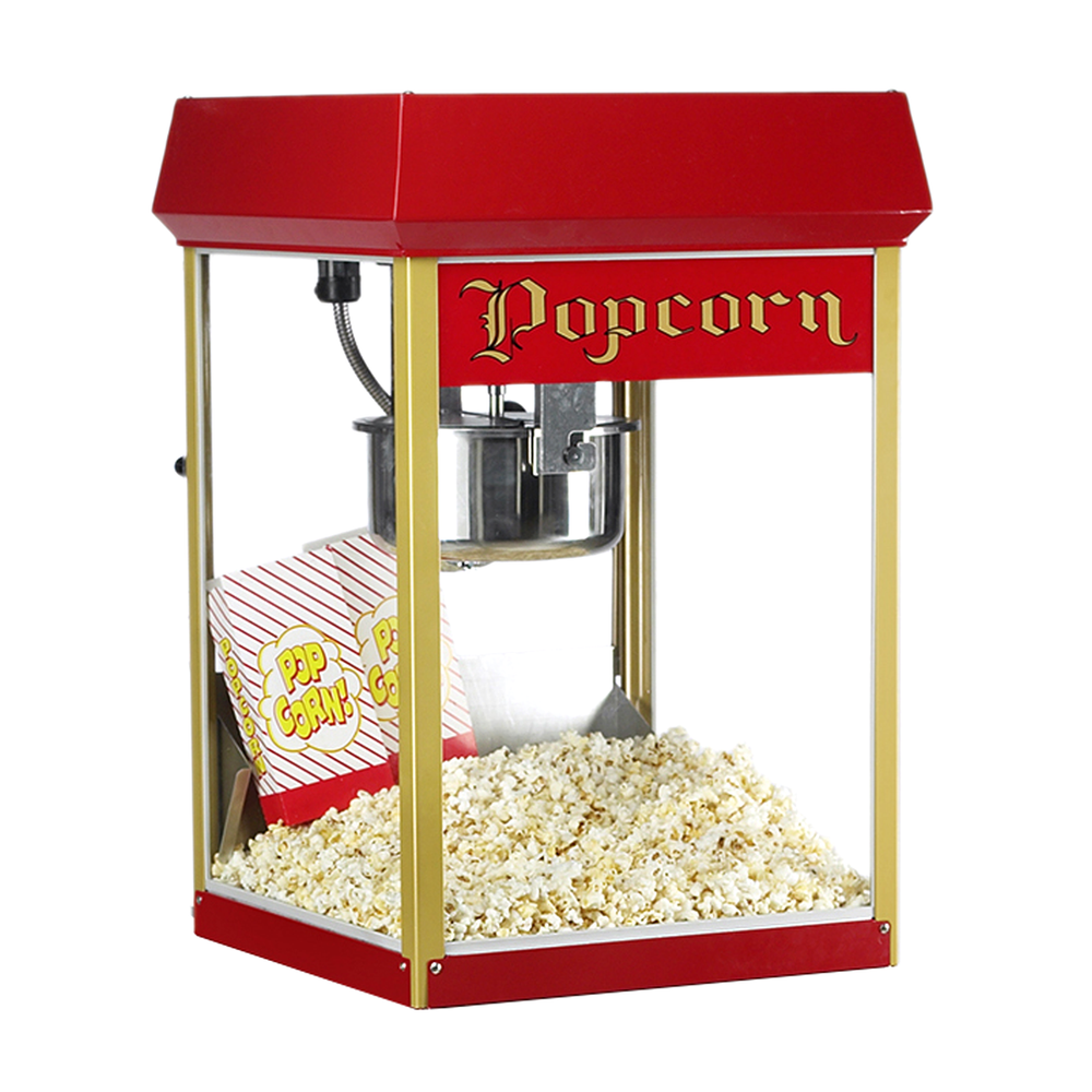 popcorn machine with red dome and gold corner posts