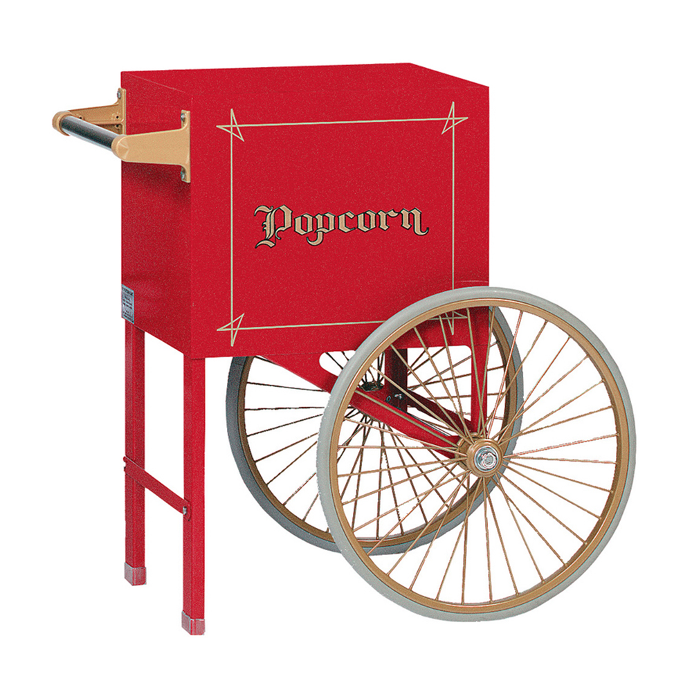 "red popcorn cart with gold vintage ""popcorn"" lettering and two wheels"