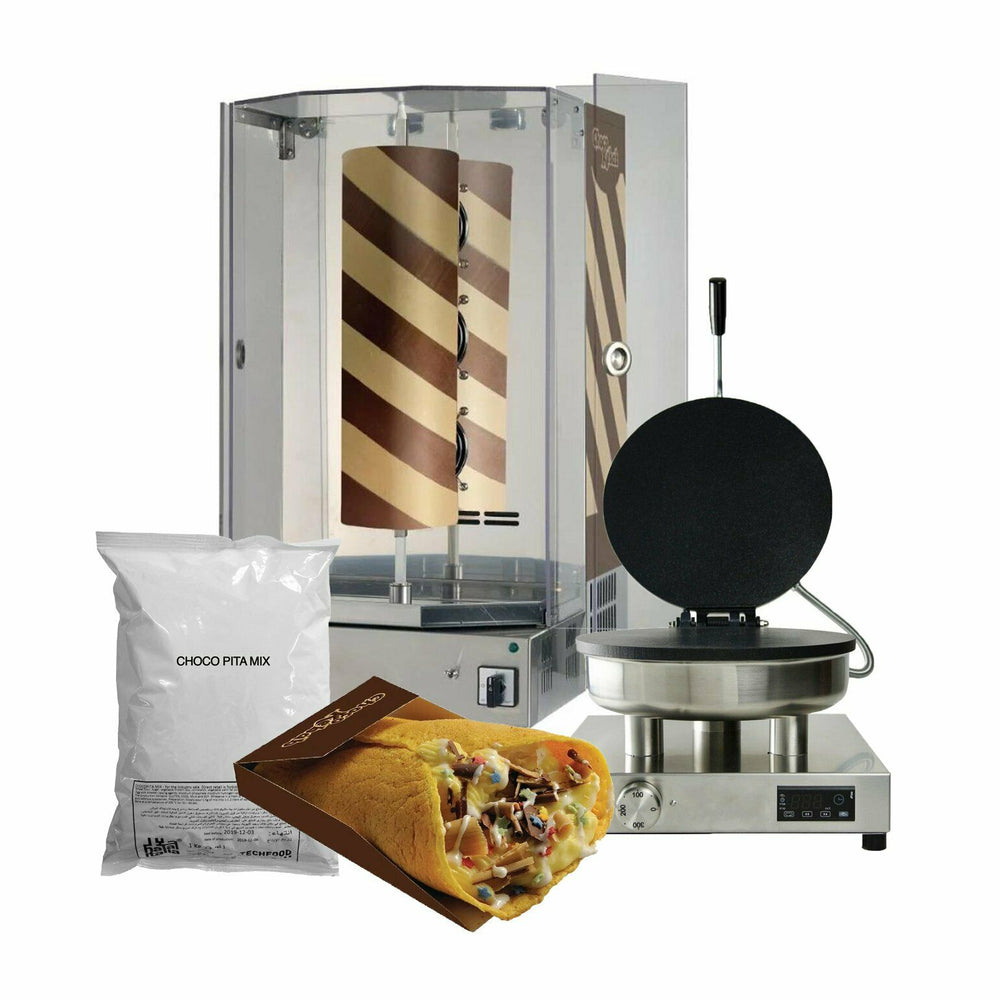 Chocolate Shawarma refrigerated unit full set with mix and Pita maker