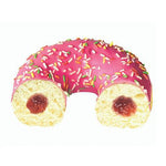 donut filled with strawberry jam and coated in strawberry icing with multi-coloured sprinkles