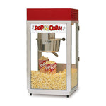 slim and tall popcorn machine with red dome