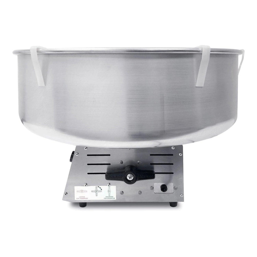 side view of candy floss machine with pan