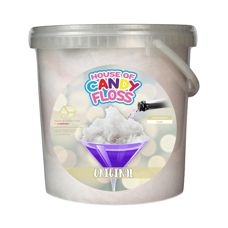 big tub filled with white candy floss