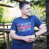 Your Texas is Showing™ Mens/Unisex Tee (Gray/Red)