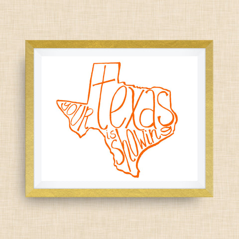 Your Texas is Showing™ Hand Drawn Foil Print by cr2f