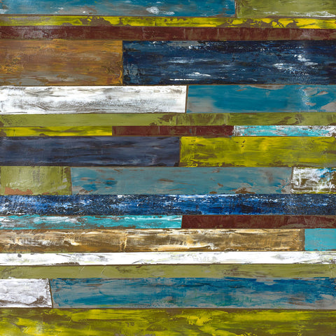 This contemporary multicolor tiled piece will add a nice touch to any space. This is a part of a series including Indoors I, II, III, and IV.
