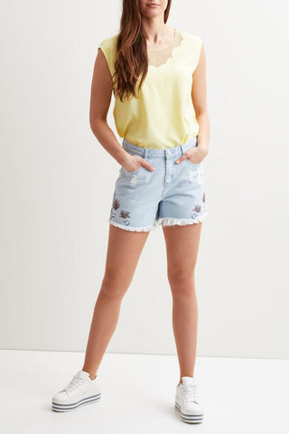 Light Denim Embroided Shorts