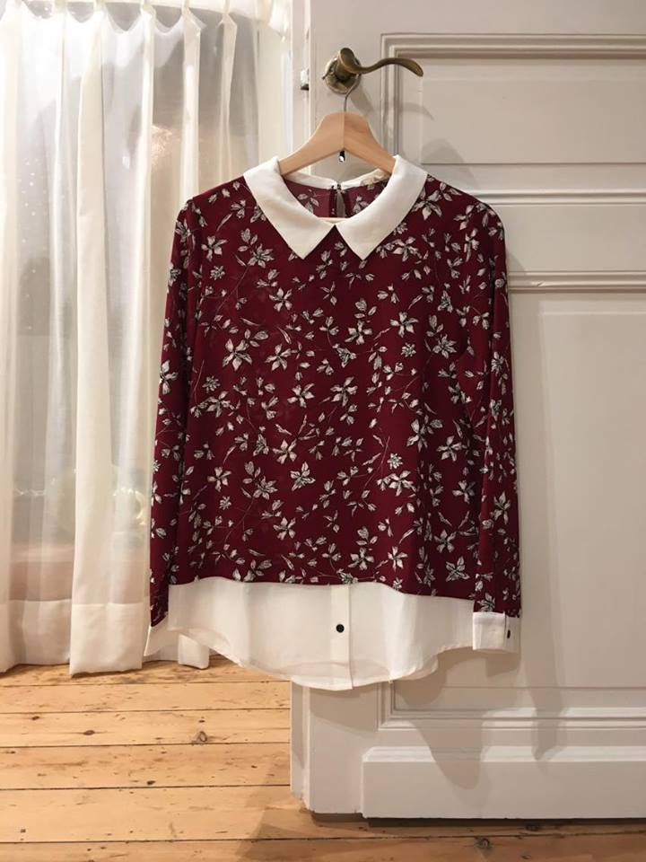 Red Flower Colar  Shirt