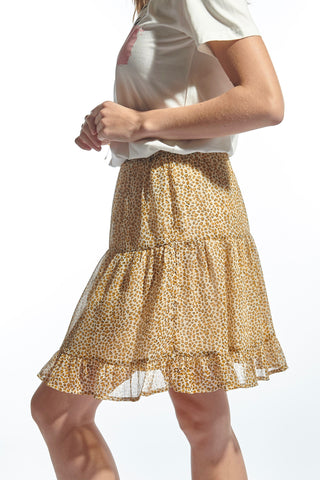 Isa Skirt Yellow Leopard