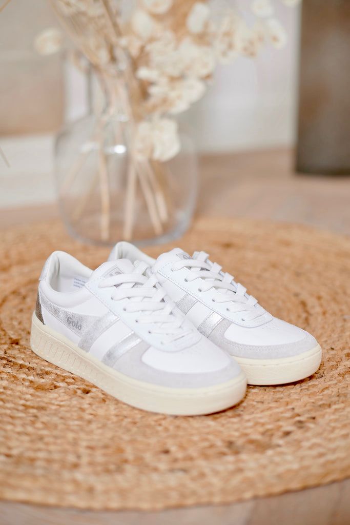 Grandslam Metallic White/Silver Sneakers