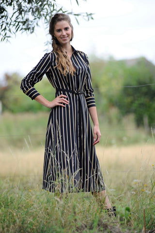 Rayure Black Striped Dress