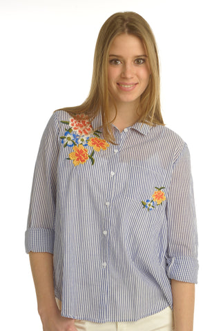 Flower Embroided Shirt
