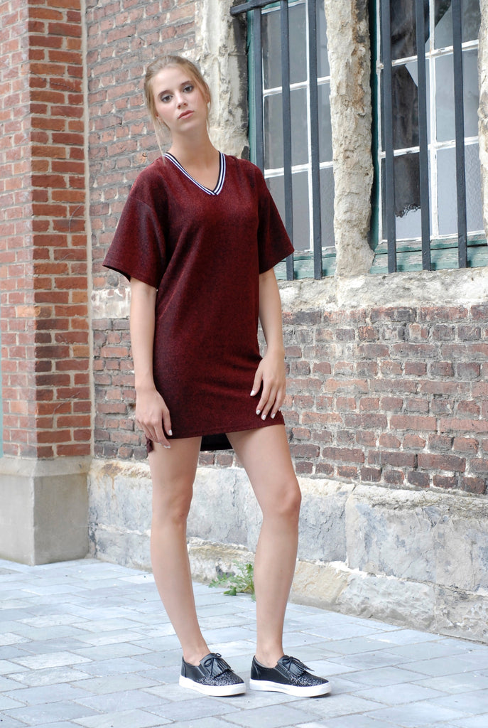 Casual Glitter Dress - Red