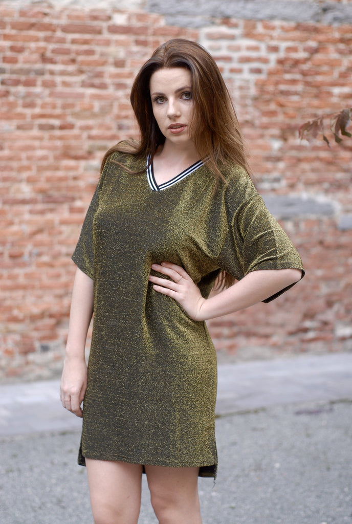 Casual Glitter Dress - Gold