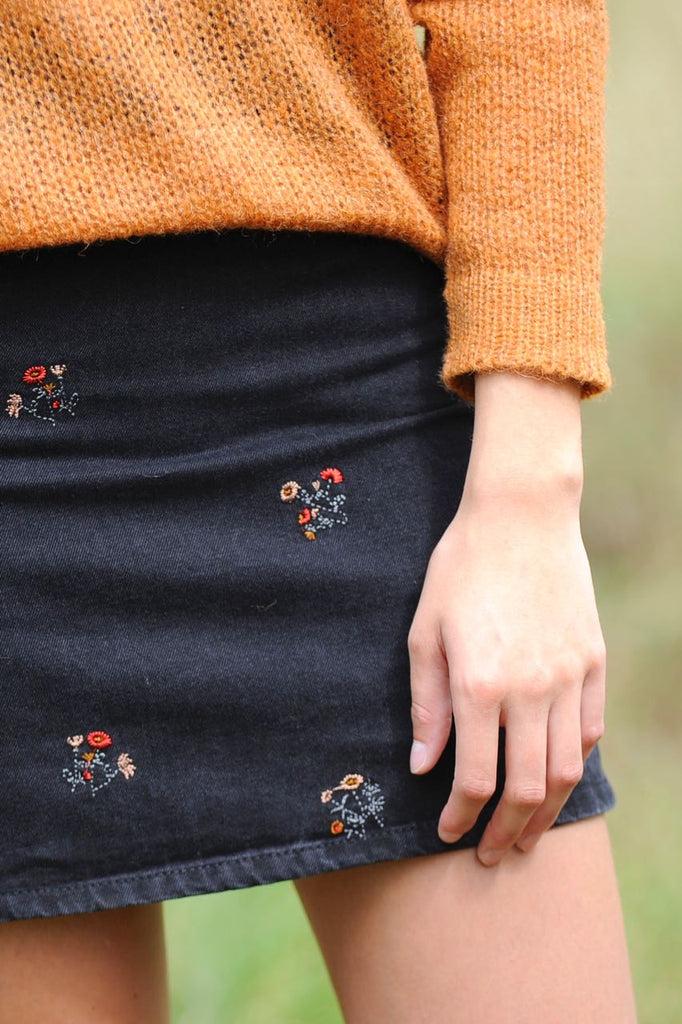 Black Embroided Denim Skirt