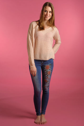 Flower Embroided Pants