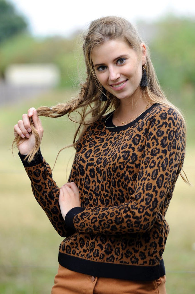 Leopard Knit Top - Leather Brown