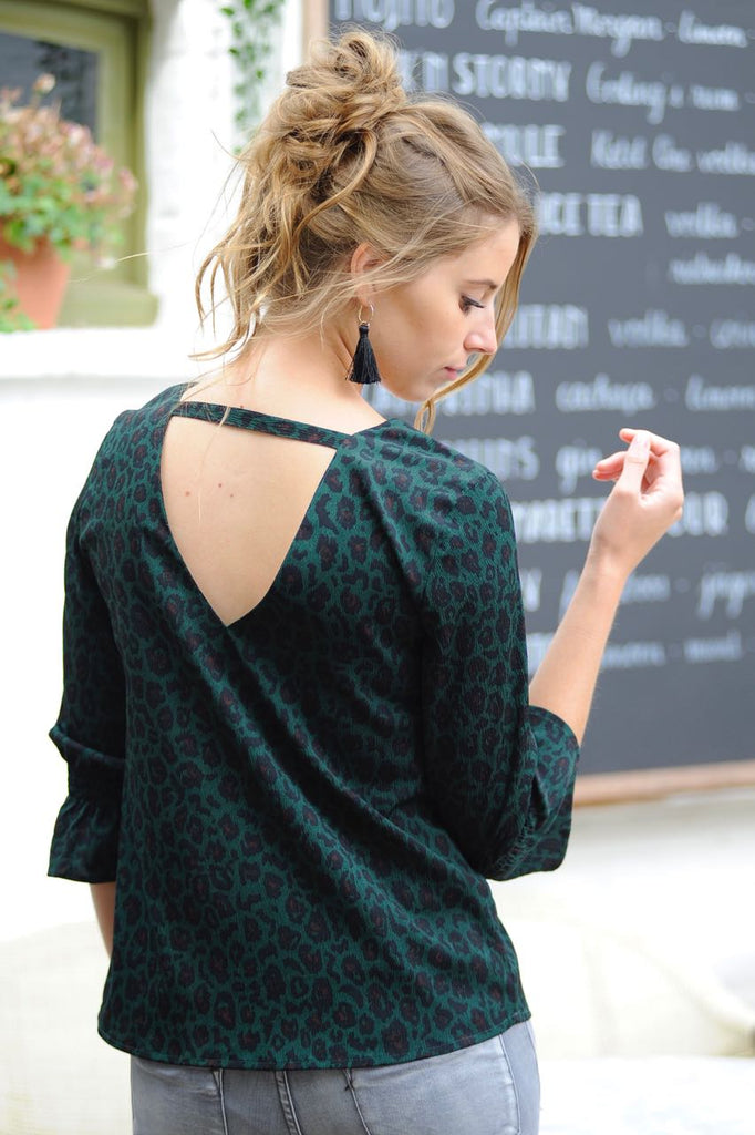 Leopard Printed Blouse Green