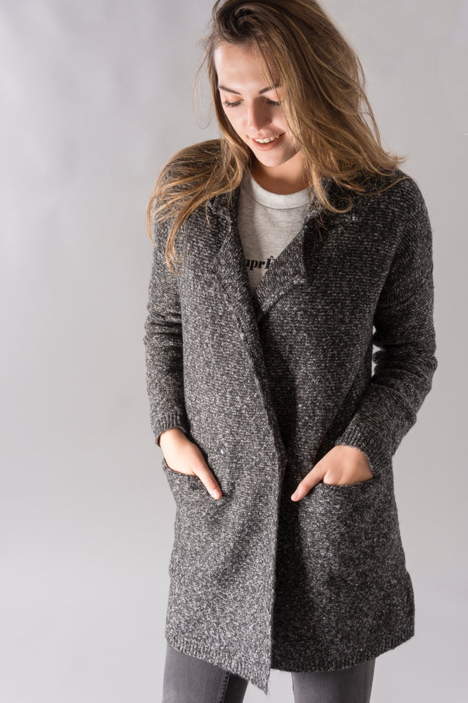 Dark Grey Knit Coat