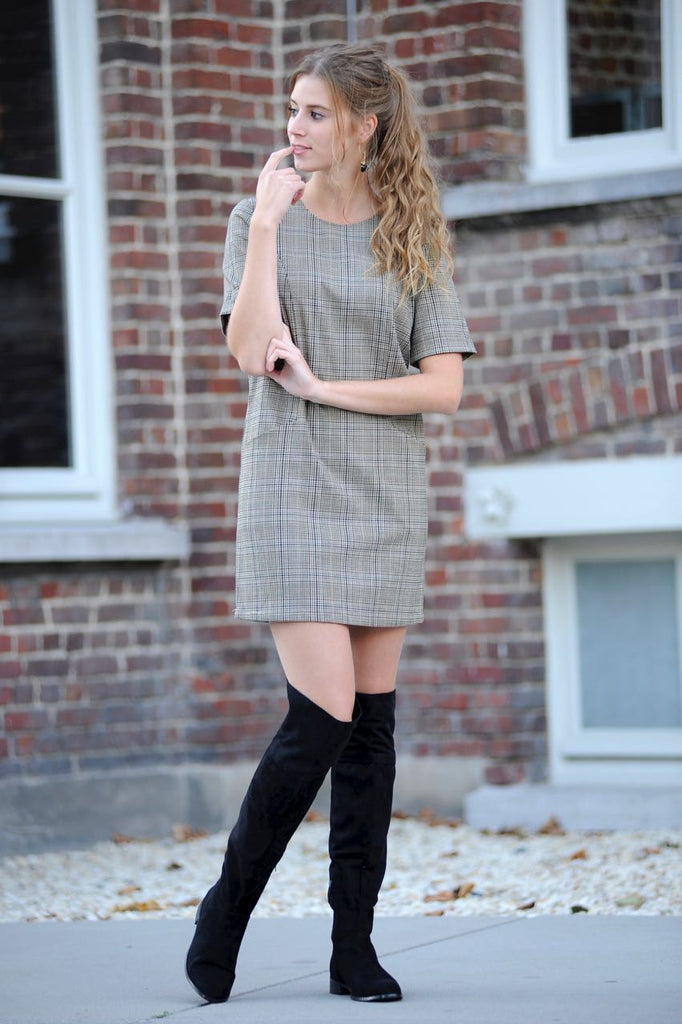 Brown Checkered Short Dress