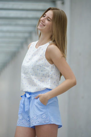 Bleu Embroided Shorts