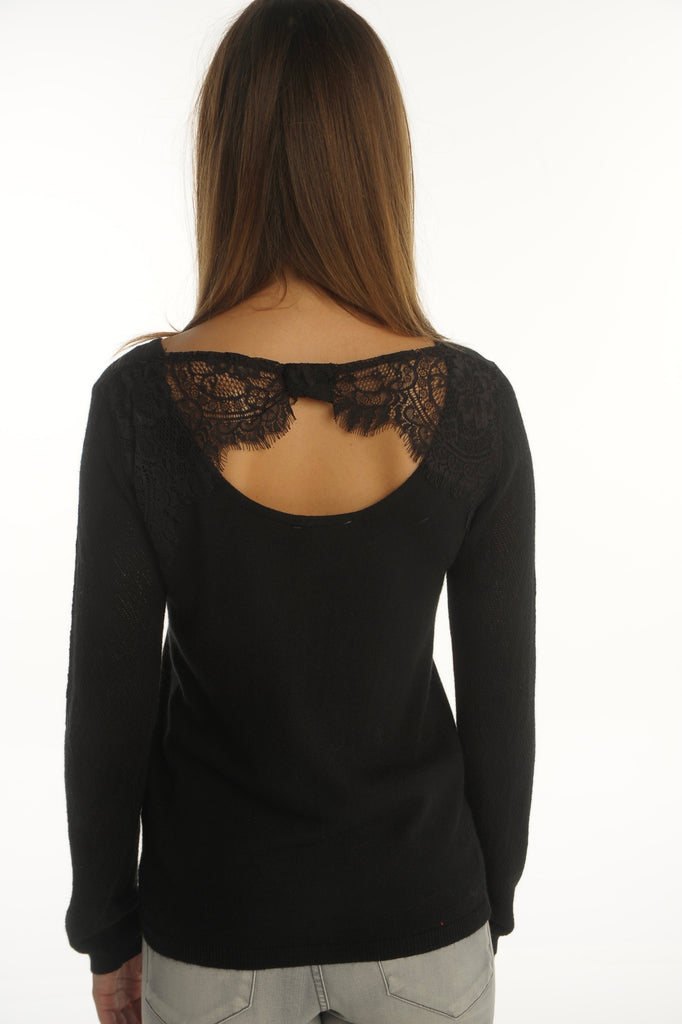 Black Lace Detail Pullover