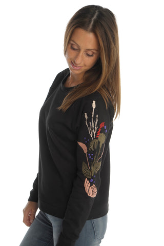 Black Embroided Sleeves Sweater