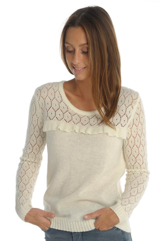 Romantic Ecru Knit Top