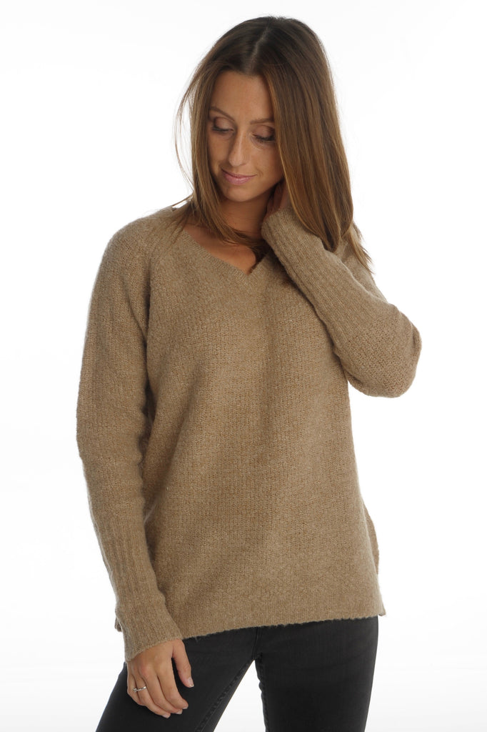 Camel V-neck Knit Top
