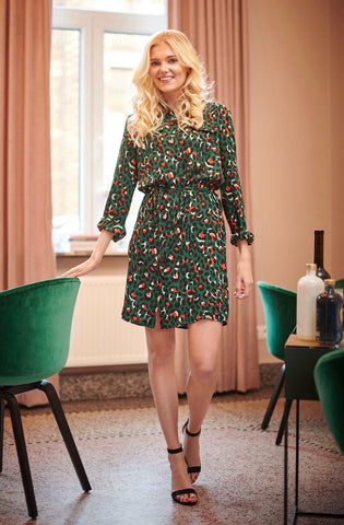 Green Leopard Shirt Dress