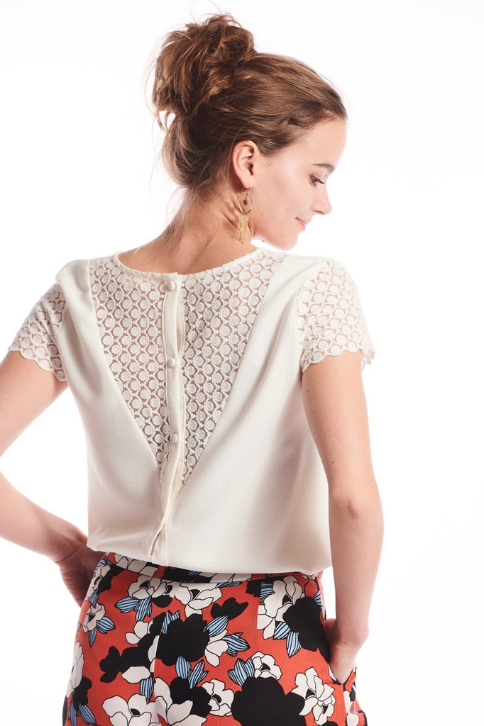 White Lace Back Top