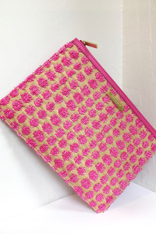 Fuxia Polly Pom Pom Clutch Bag