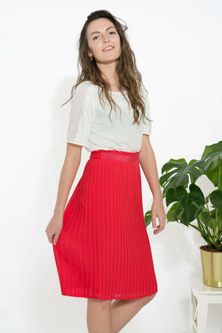 Red Plisé Skirt