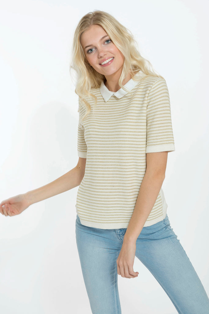 Anouk Golden Stripes Knit Top