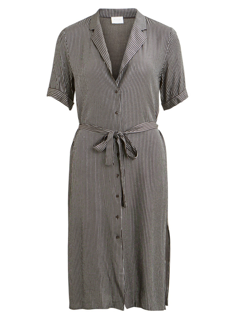 Silvery Striped Shirt Dress
