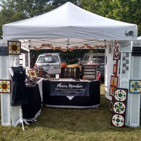 Craft Fair Booth for Handmade Jewelry and Barn Quilts by Phoenix Mountain Creations