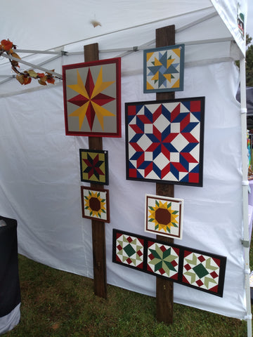 Vertical barn quilts display for craft festival